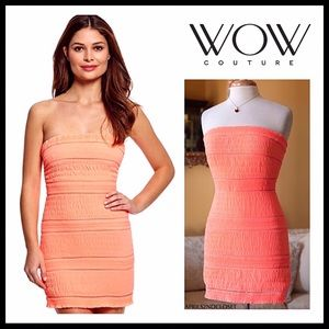 WOW COUTURE STRAPLESS CORAL SUMMER MINI DRESS A2C
